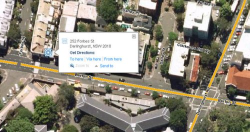Map of 252 Forbes St, Darlinghurst, NSW  whereis.com - Windows Internet Explorer 13052009 62134 PM